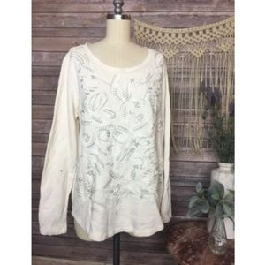 Lucky Brand Long Sleeve Embroidered Top Knit